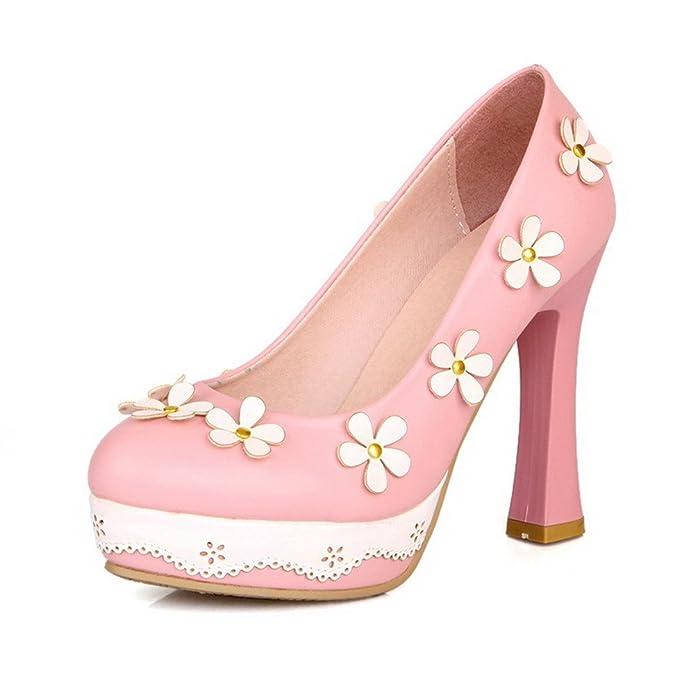 Damen Rund Zehe Hoher Absatz Gemischte Farbe Ziehen auf Pumps Schuhe, Schwarz, 39 AllhqFashion