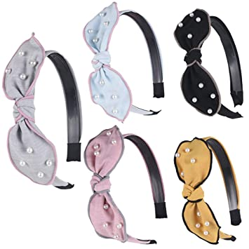 Pack 2 Blue gingham hair alice bands bow fabric plastic headband hairband band