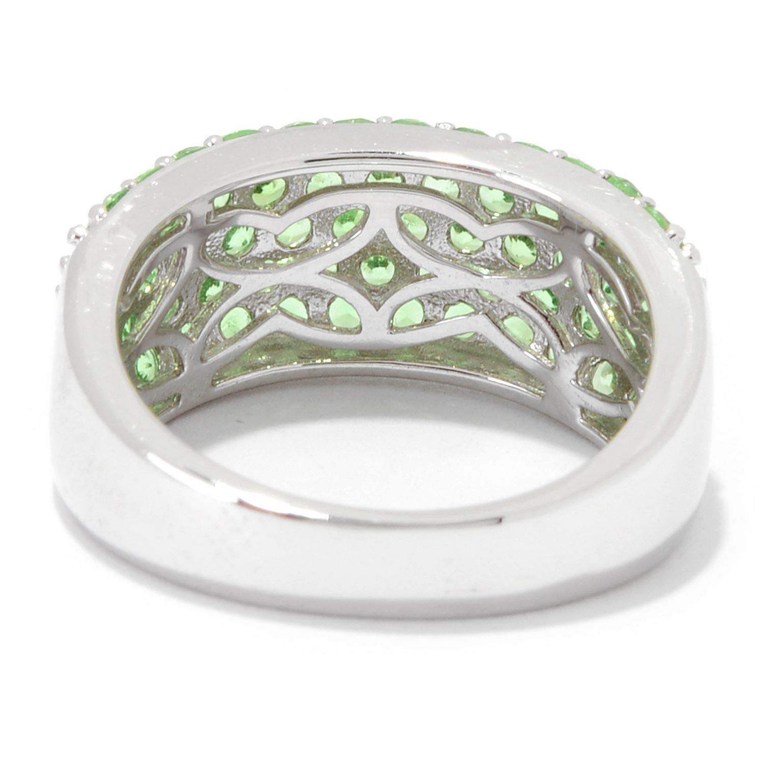 Pinctore Sterling Silver 1.90ctw Tsavorite Five-Row Band Ring