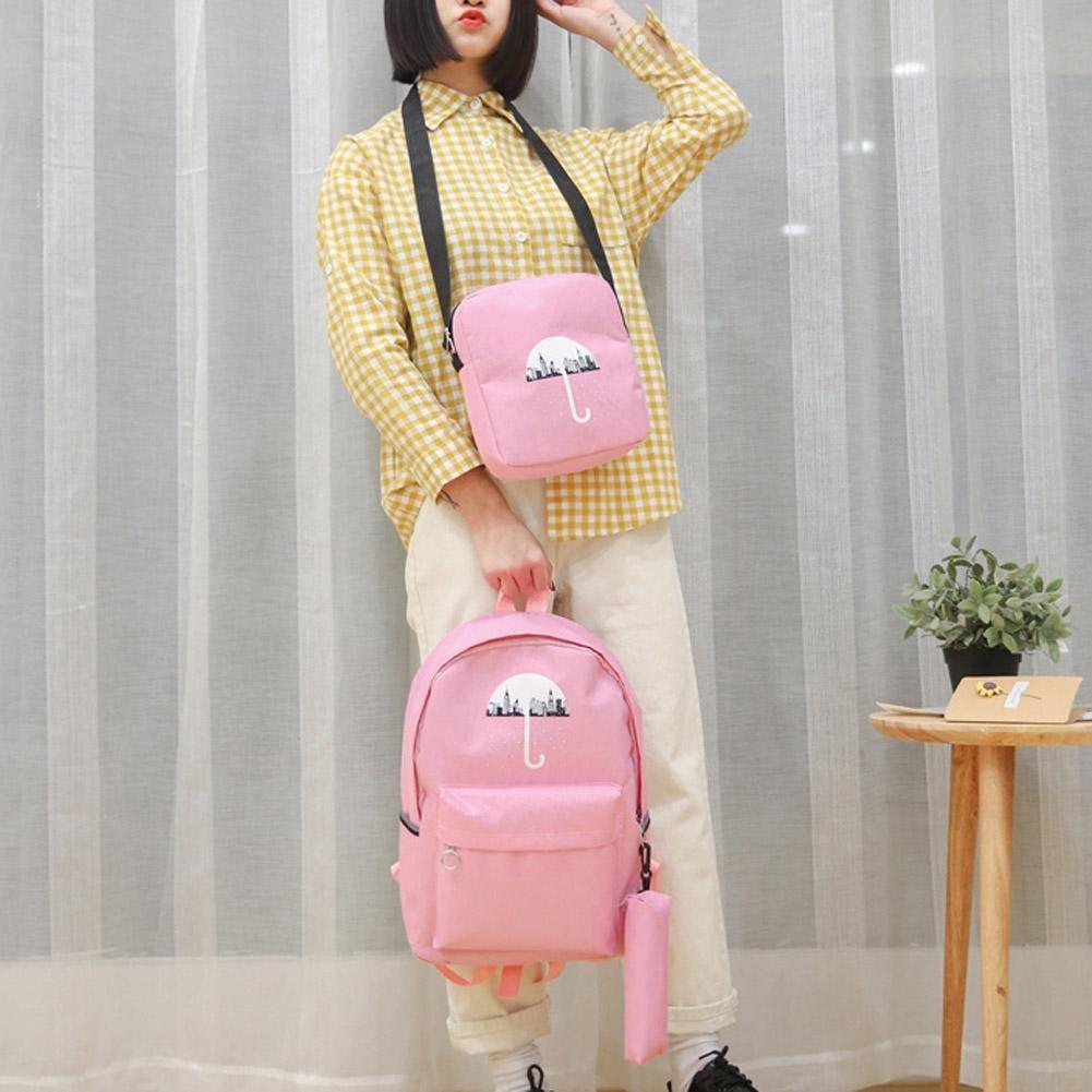 2f6eb03034 Zibuyu 3Pcs Set Umbrella School Bag Teenage Girl Canvas Backpack  Bookbag(Pink)  Amazon.in  Bags