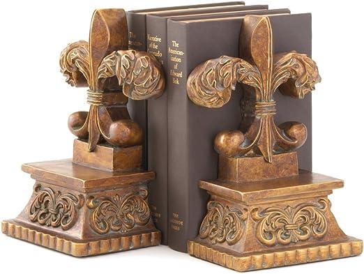Gifts & Decor Fleur-DE-LIS BOOKENDS, Brown