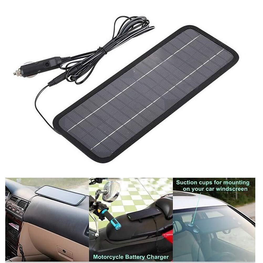 Sweet48 12V 4.5W Portable Solar Panel Solar Car Battery Charger Backup for Car Boat Batteries, Bundle with Cigarette Lighter Plug, Battery Clamps & Suction Cups by Sweet48