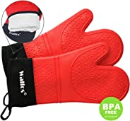 WALFOS Heat Resistant Oven Gloves, Extra Long Silicone Oven Mitts, Waterproof,Non-Slip Baking Mitts for Cooking, Baking, BBQ,