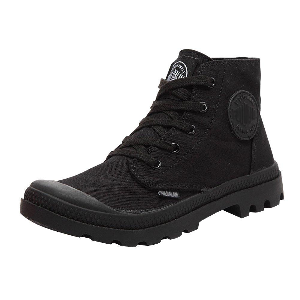 Unisex Couple Men's Women's Outdoor Canvas Combat High top Sneaker Field Paladin Boots Black 39-Women US7.5