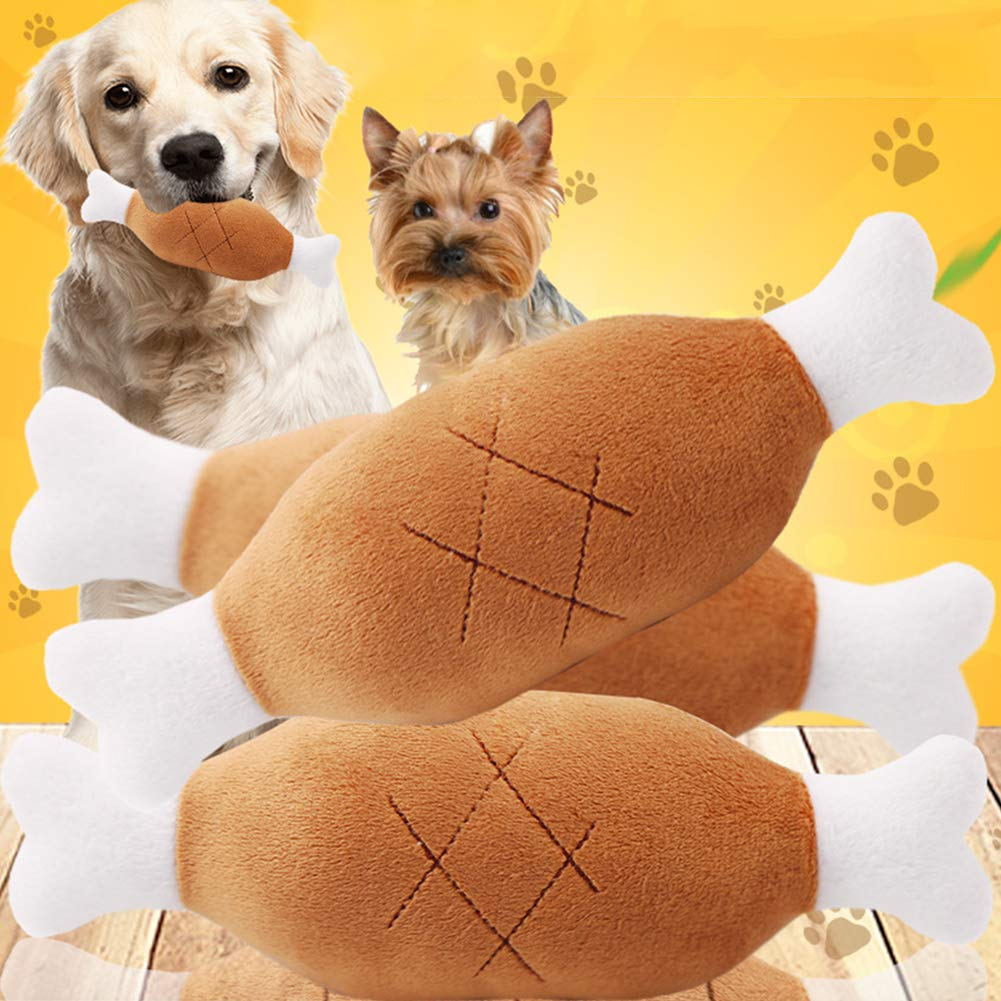 Wmeet Piernas de Pollo Perro de Peluche Perro Squeaky Juguetes para Mascotas de Felpa Juguetes Colgantes Lujosa Forma Squeaker Pierna nteractivo Brown