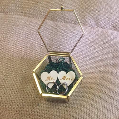 Woodland Wedding, Rustic Ring Box, Moss Ring Box, Geometric Wedding Band Box, Ring Bearer Box, Glass Jewelry Box, Bridesmaids Proposal Box