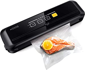 KOIOS Vacuum Sealer Machine, Automatic Food Saver Vacuum Sealer, 80 kpa Food Sealer with Cutter, Dry & Moist Modes, with up to 40 Consecutive Seals, Fresh up to 7x Longer