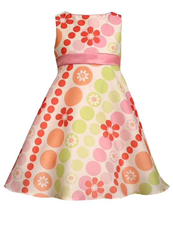 60s 70s Kids Costumes & Clothing Girls & Boys Little Girls 2T-6X Multicolor Bias Dots-n-Floral Print Shantung Social Dress $32.96 AT vintagedancer.com
