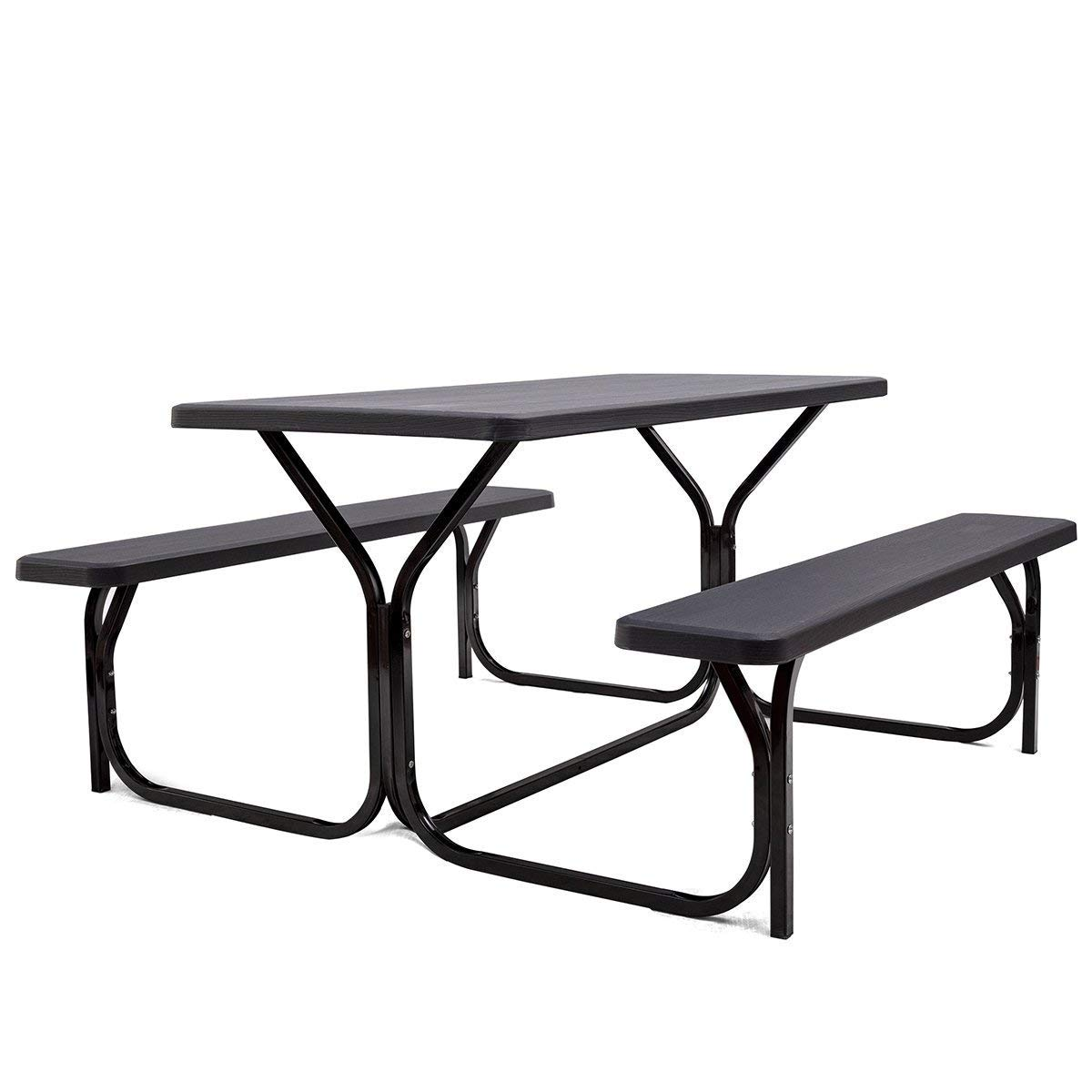 GYMAX Picnic Table, Camping Picnic Tables Bench Set for Outside Backyard Garden Patio Dining Party