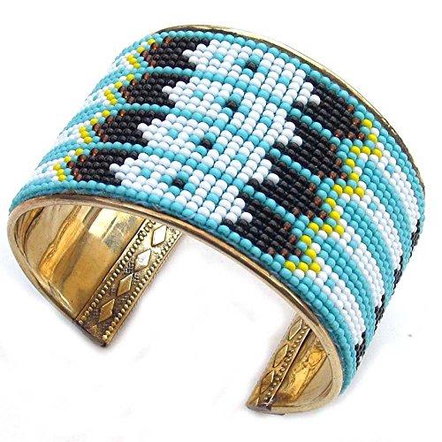 Handmade Beaded Indian Fashion Jewelry turquoise Blue White Non Native Beaded Cuff Bracelet B53/5 -  La Vivia, B-53-SB-5