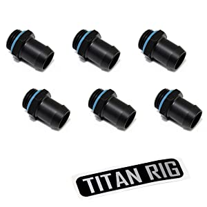 """XSPC G1/4"""" to 1/2"""" Barb Fitting for Soft Tubing, Matte Black, 6-Pack"""