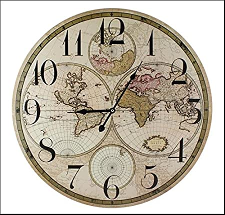 World map 60cm diameter wall clock amazon kitchen home world map 60cm diameter wall clock gumiabroncs Choice Image
