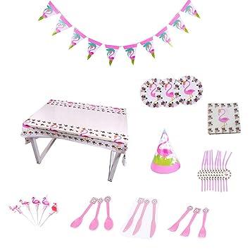 Amosfun Fiesta de cumpleaños Infantil Flamingo Disposición ...
