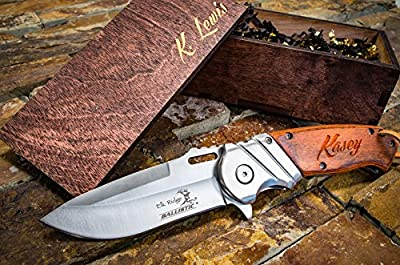 Engraved Box & Custom Pocket Knives- Personalized Wooden Gift Boxes, Knife Husband Groomsmen Set Groomsman Hunting Man Mens Boyfriend Wedding Gifts Folding Blade Rustic Knifes Spring Assisted Open