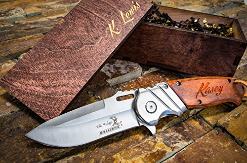 [Engraved Box & Custom Pocket Knives- Personalized Wooden Gift Boxes, Knife Husband Groomsmen Set Groomsman Hunting Man Mens Boyfriend Wedding Gifts Folding Blade Rustic Knifes Spring Assisted] (Super Nerdy Costume)