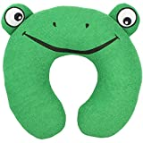 Bags Under Eyes in Toddler Kid's Bright Green Frog U-Shaped Travel Neck Pillow (Terry-Cloth) by bogo Brands