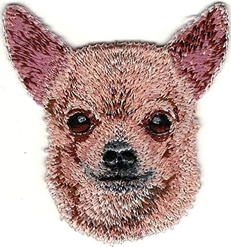 2'' x 2 1/4'' Tan Chihuahua Head Portrait Dog Breed Embroidery Patch ()