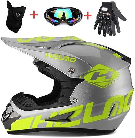 Moto Sport Off-Road Enduro Downhill Casco Integral ATV MTB BMX Quad Cascos de Motocicleta LEENP Casco de Motocross Ni/ños Ni/ñas Casco de Cross de Moto Set con Gafas M/áscara Guantes