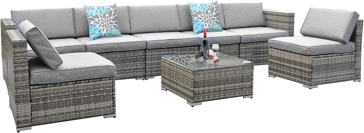 YITAHOME 8 Piece Outdoor Patio Furniture Sets, Garden Conversation Wicker Sofa Set, and Patio Sectional Furniture Sofa Set with Coffee Table and Cushion for Lawn, Backyard, and Poolside