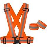Reflektorweste Set reflektierende Sicherheitsweste mit 2 Arm- Beinbänder perfekt für Laufen, Joggen, Radfahren, und für Kinder Einheitsgröße