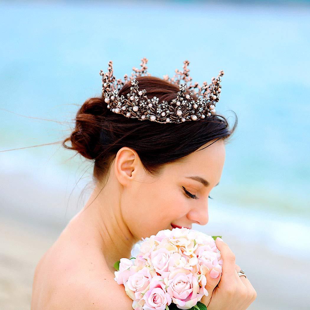 Unicra tiara da regina e corona da donna cerchietto decorativo per ballo di fine anno coroncina in cristallo barocco