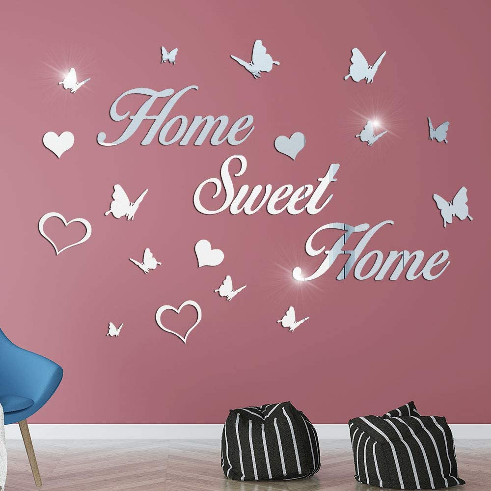 3D Mirror Home Sweet Home Butterfly Heart Wall Stickers, LASZOLA DIY Mirror Wall Letters Decor with 12Pcs Butterflies Combination Removable Mural Stickers for Home Decoration Decal (Silver)