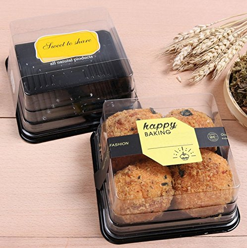 Cake Box - 4'' Transparent Plastic Mini Cake Box - Feast Cupcake Box - Muffin Box Biscuit Box Flat Top Box Bakery Cake Shop Sale Use (black) by Hewnda (Image #7)