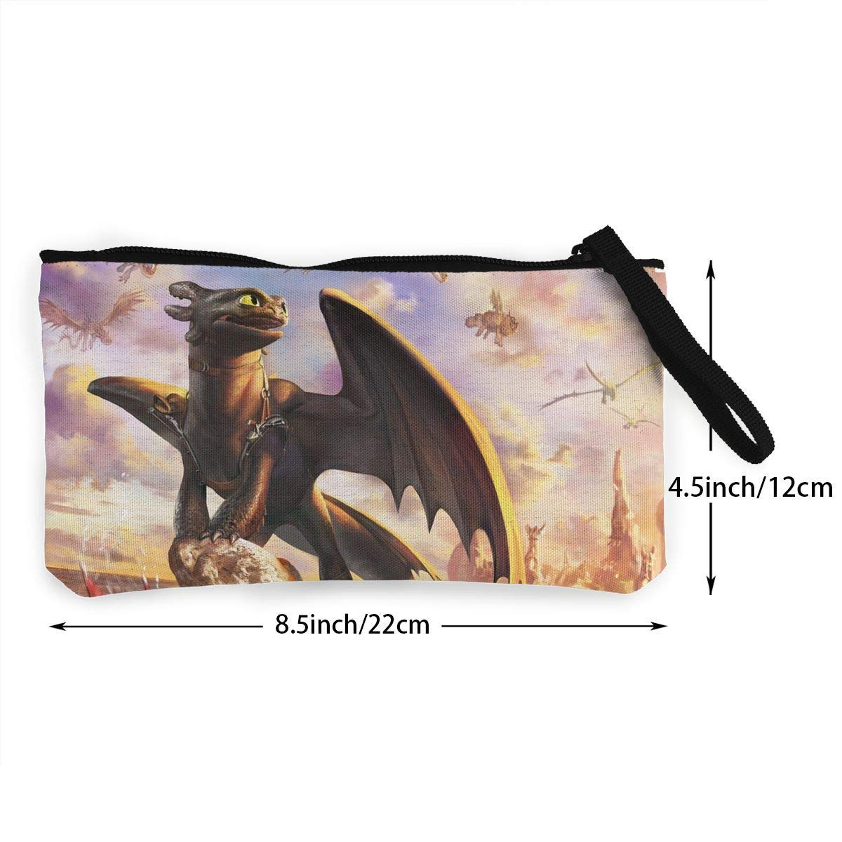 How To Tra-in Your Dragon Toothless Dragon 41 Canvas Cash Coin Purse Make Up Bag Cellphone Bag With Zipper And Handle