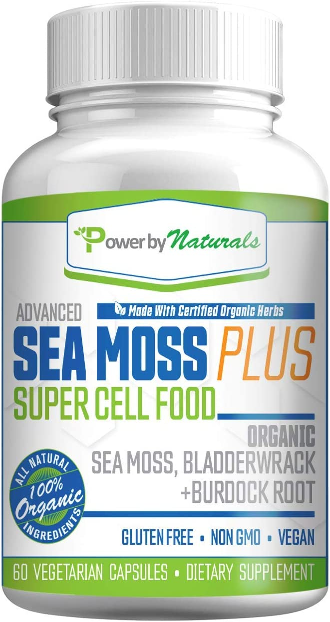 Organic Sea Moss Plus - Super Cell Food - Certified Organic Irish Sea Moss Bladderwrack with Burdock Root for Joint Thyroid Support, Detox, Anti Aging, 60 Cell-Food Vegan Capsules Non-GMO, No Fillers