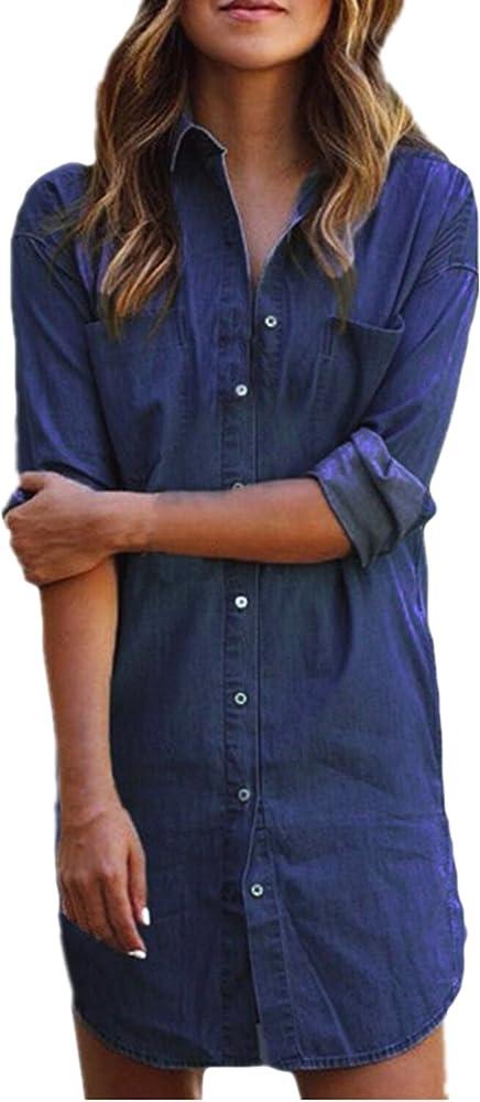 Style Dome Camisa de Mujer Vestido Denim Tunic Jean Button Mini Vestido de Manga Larga Camisa de Invierno Tops Largos Blusa Azul denim-649683 L: Amazon.es: Ropa y accesorios