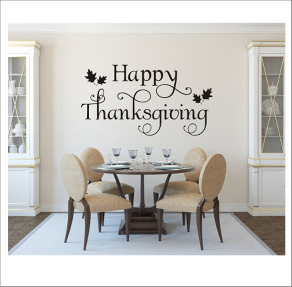 Room Wall Decor Stickers Happy Thanksgiving Decal Thanksgiving Decal Thanksgiving Decor Holiday Decal Thanksgiving Decor Peel And Stick Removable Wall Stickers For Kids Nursery Bedroom Living Room