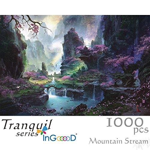 Ingooood Painting Series- Landscape Mountains Waterfall- Jigsaw Puzzles 1000 Pieces for Adult