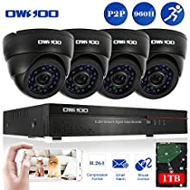 OWSOO 8CH 960H/D1 1TB Hard Drive DVR with 4PCS Night Vision Built-in Waterproof IR LED Indoor 800TVL IR Cameras Surveillance CCTV Security Camera System - Black