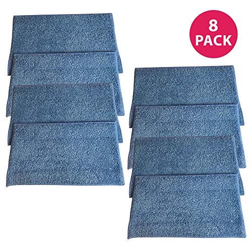 Crucial Vacuum Replacement Mop Pads Part # RMF2, RMF2P, RMF2X, RMF4X, RMF4, RMF-4 - Compatible with Haan - Fit BS10, BS20, HD50, MS30, MS30R, MS35, SI25, SI35, SI35G, SI35R, SI35BCRF, Bulk (8 Pack)