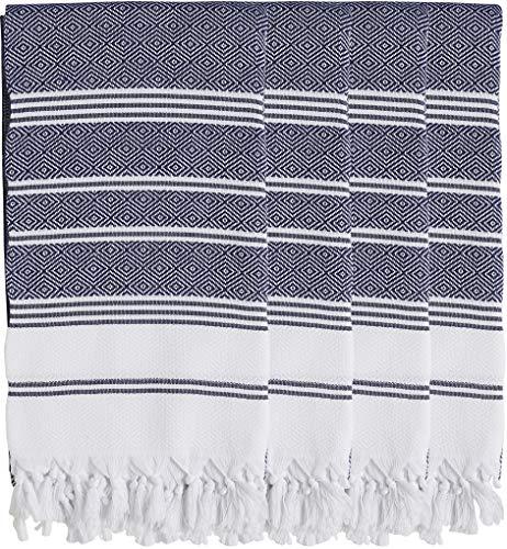 SET of 4 - New Season BRIGHTEST Diamond Weave Turkish Cotton Bath Beach Hammam Towel Peshtemal Blanket (4 Navy)