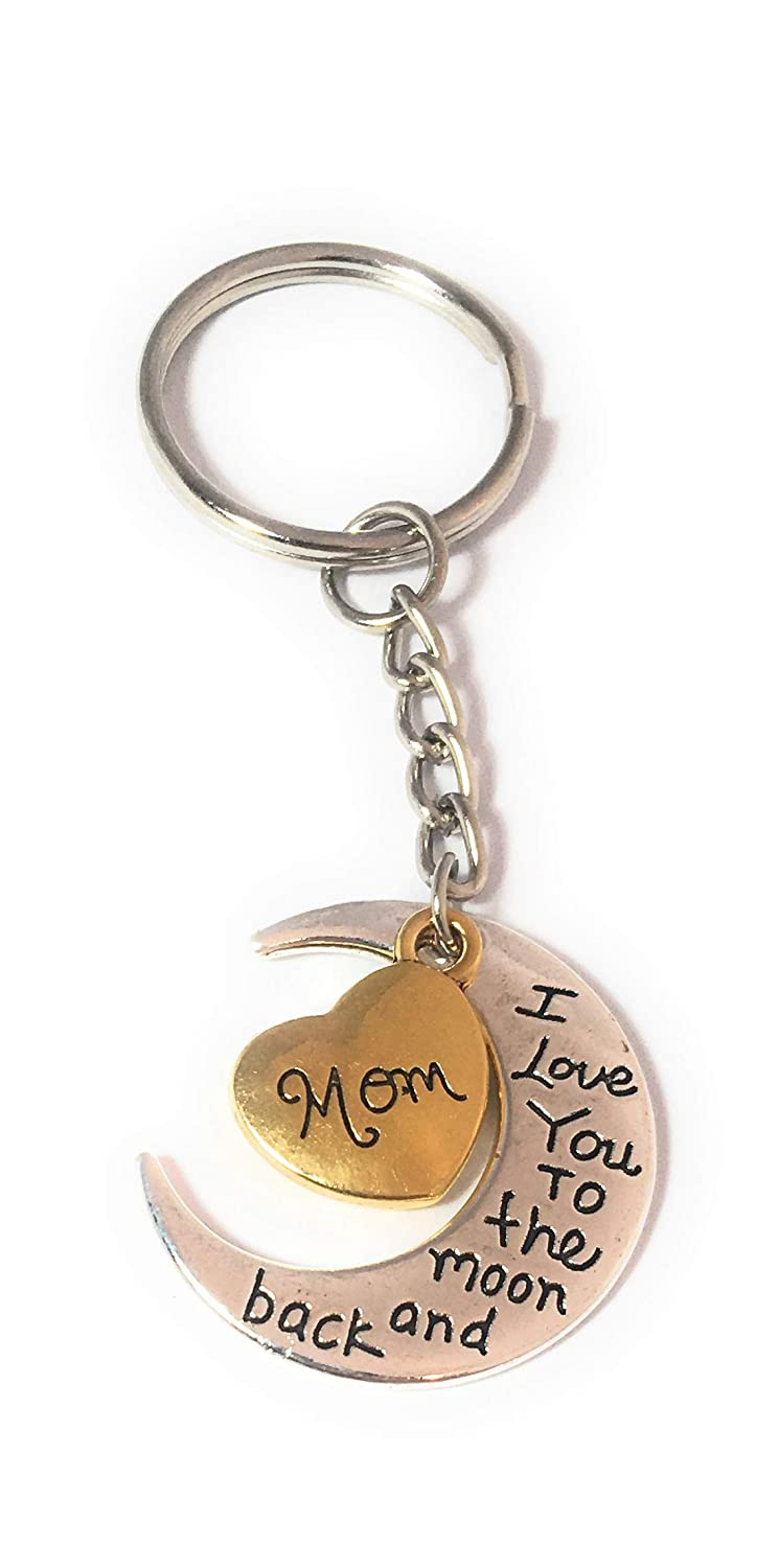 FizzyButton Gifts Mom I love you to the moon and back gold and silver tone keyring or bag tag