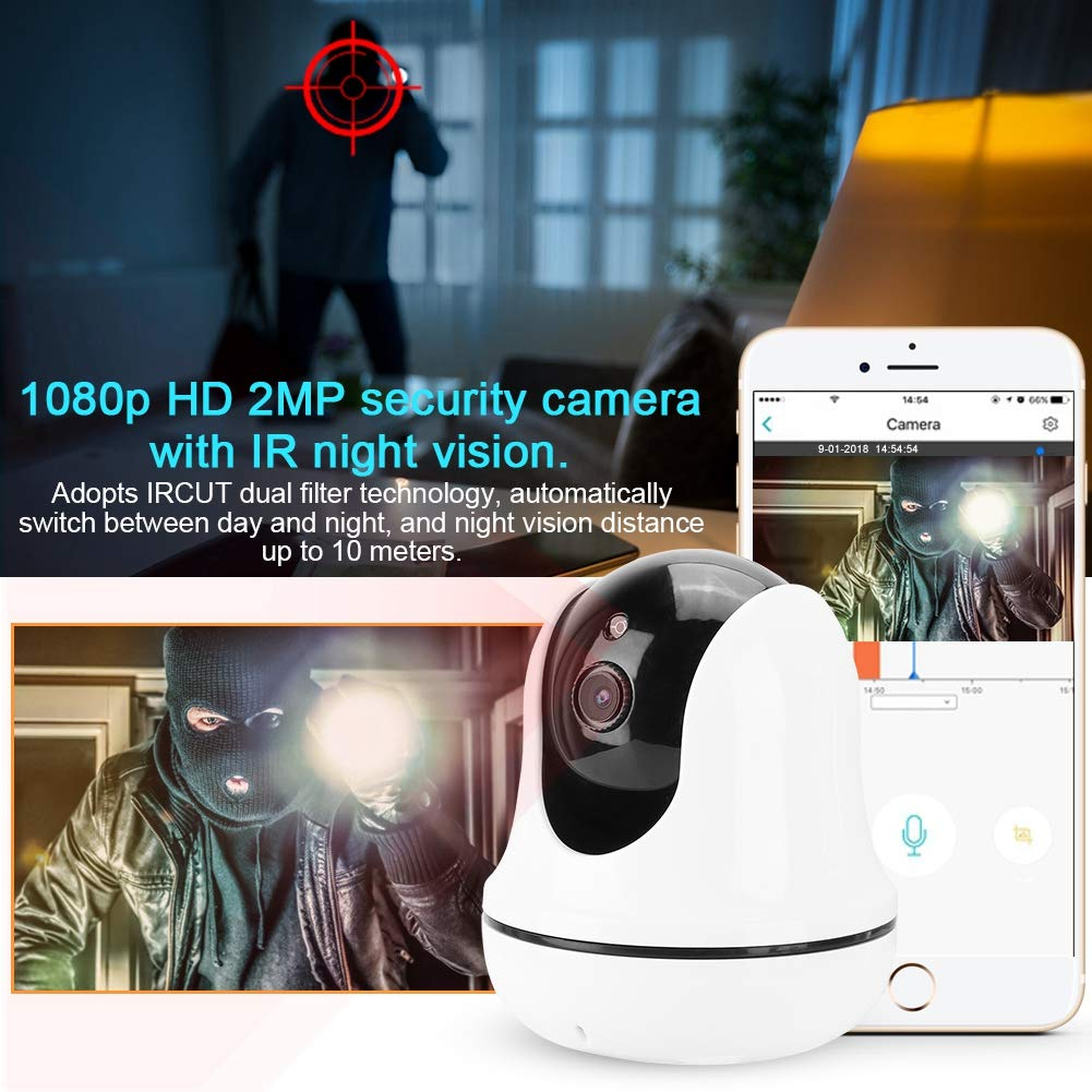 C/ámara IP al Aire Libre IR Pan//Tilt Security CAM C/ámaras de Seguridad Detecci/ón Movimiento para iPhone//Android Tel/éfono//iPad//PC EU WiFi 1080P HD C/ámara Inal/ámbrico con Visi/ón Nocturna