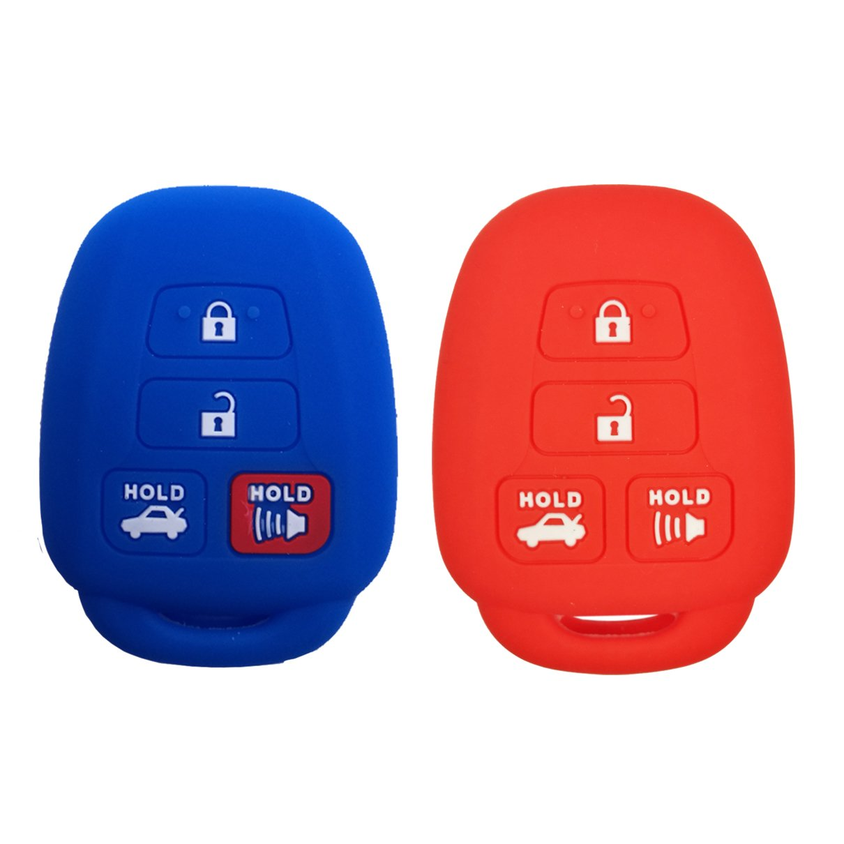 Coolbestda 4Buttons Key fob Remote Cover Keyless Jacket Protector Holder for Toyota Camry SE LE Avalon Corolla RAV4 Venza Highlander Sequoia HYQ12BDM Red