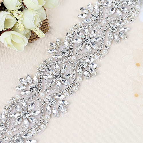 Wide Crystal Rhinestone Applique Trim 1 Yard - Bridal Wedding Applique Pearls Beaded Decorations Handcrafted Sparkle Sewn or Hot Fix for Women Gown Sash Evening Prom Dress Belt Clothes - (Easy Plus Size Costumes)