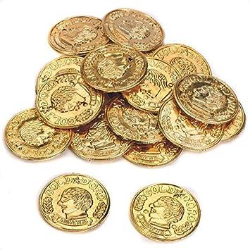 Oro metálico aspecto plástico juguete monedas