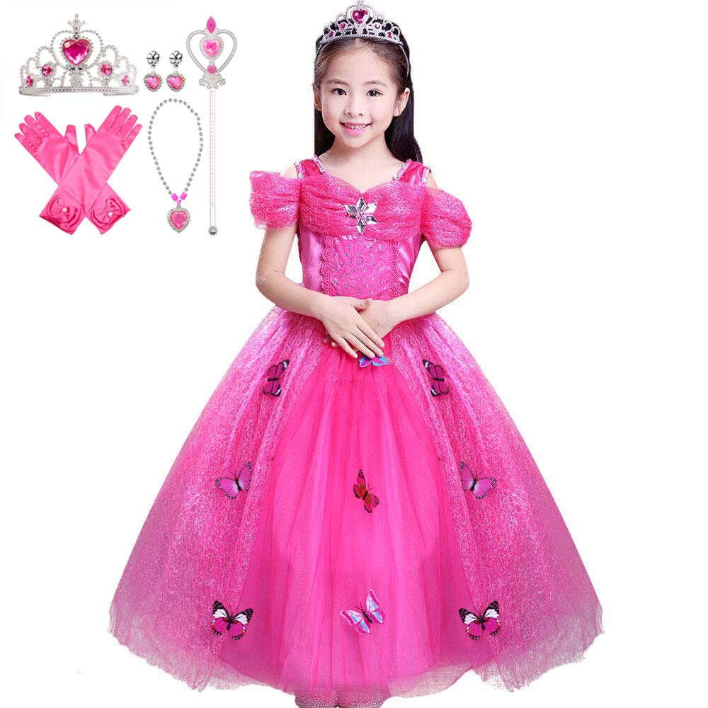 Fancydresswale Princess Butterfly Dress for Girls with Jewellery Set (5-5  Years)