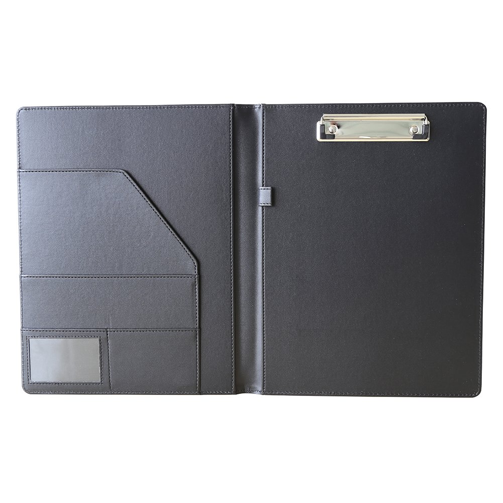 KINGFOM Leather Padfolio Clipboard Letter Size Files Storage Folder Wring Notepad for Business School Office Conference with Cover(1676Black)