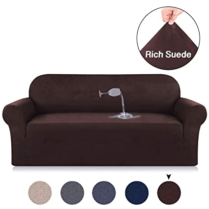 Amazon.com: Turquoize Brown Sofa Slipcover Suede Couch Velvet Plush ...