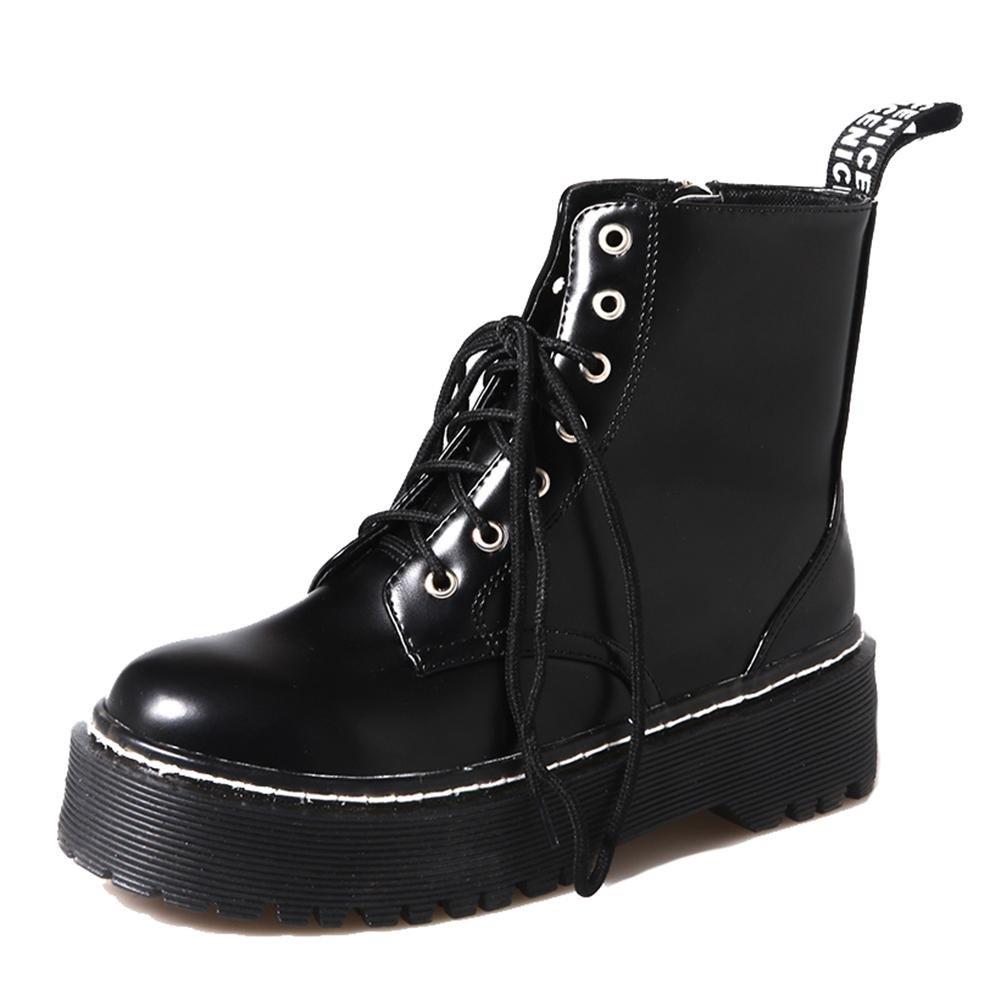 Bottes Martens Femme Mode HD-C89 Chaussures d'étudiant Rétro,En Cuir Vrai Lacets Ville Chaussures Montantes,GJDE