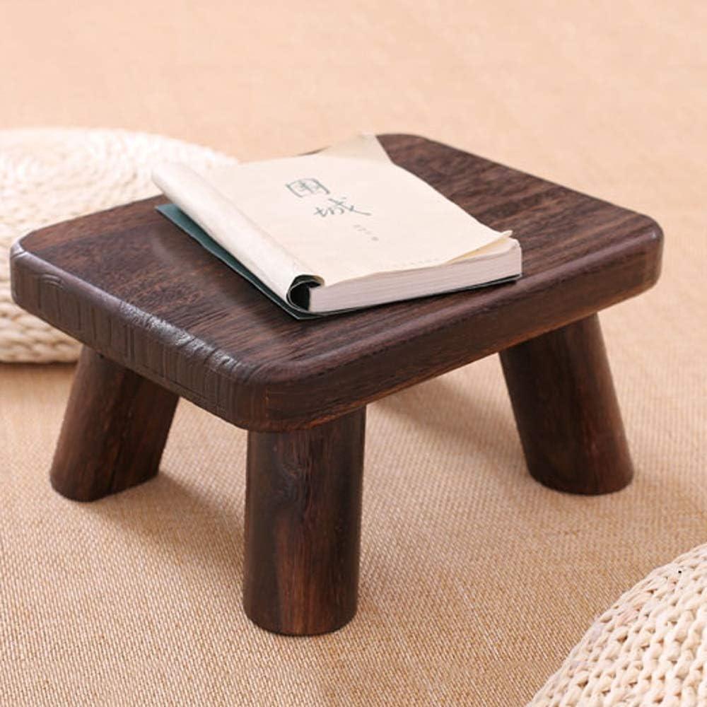 Funlea Asientos pequeños y rústicos para el hogar Taburetes de la mesa de centro del asiento Asiento del reposapiés cuadrado retro Taburete bajo de madera maciza para lámpara delgada Ocasional Consola: Amazon.es: