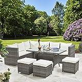 Laura James 9 Seater Rattan Corner Sofa Set - Outdoor Garden Dining Table (Grey)