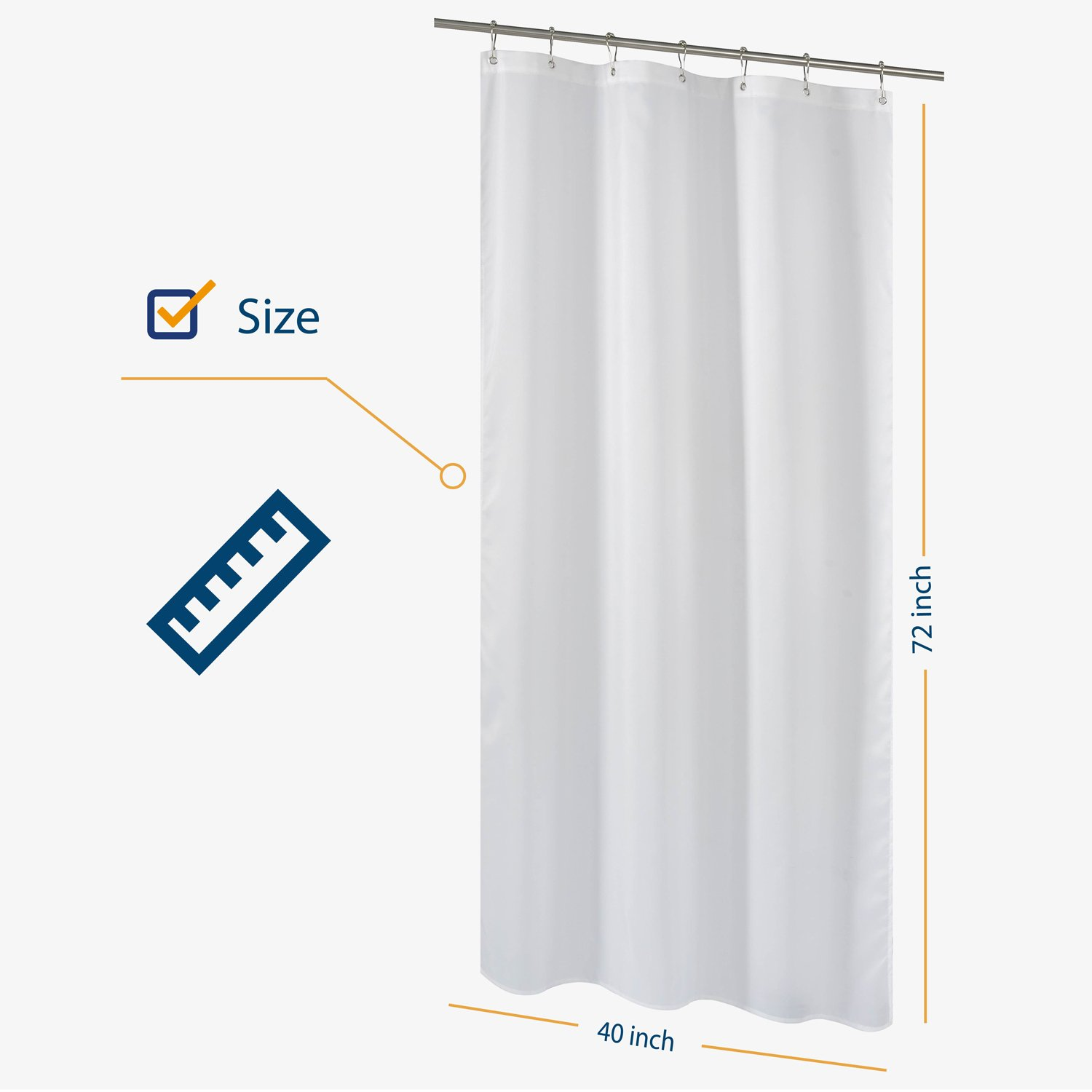 Amazon NY HOME Fabric Shower Curtain Liner White