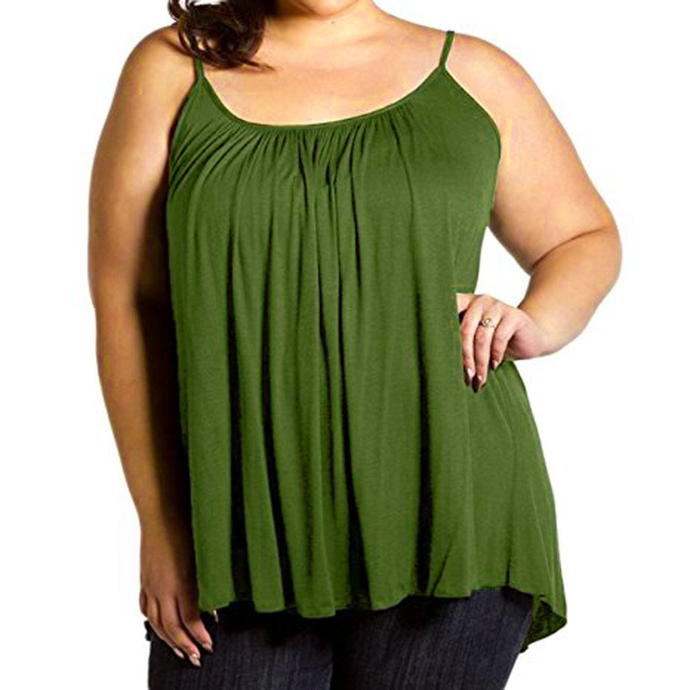 Women's Camisoles Strappy Fashion Loose Sleeveless Vest Tops Shirt Sexy Blouse Casual Solid Color Tank Tops Plus Size S~ 6XL Green
