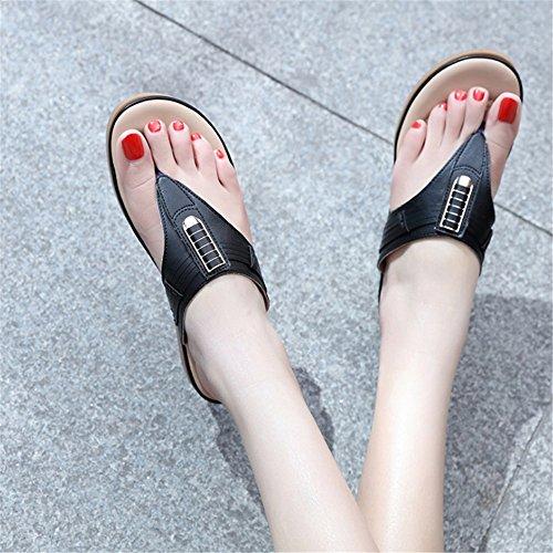 De Zapatillas Negro Planas Playa Verano Gran Tamaño Comfort Playa Zapatillas Slipper De De Ladies De Metal 8q8BwAr