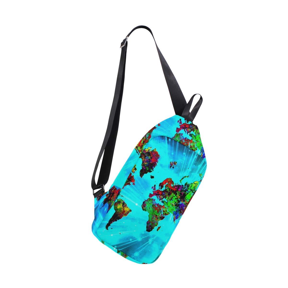 AHOMY Colorful World Map Messenger Bag Small Travel School Sling Bag Crossbody Bag